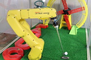5 The LR Mate 200iD robot will pick and place a ball and then putt the ball accurately achieving a hole-in-one each and every time