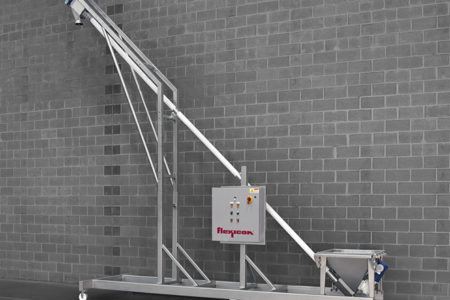 Flexicon flexible screw conveyors eliminate dumping from safety cages