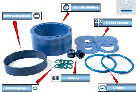 New metal detectable and x-ray visible food safe rubber materials
