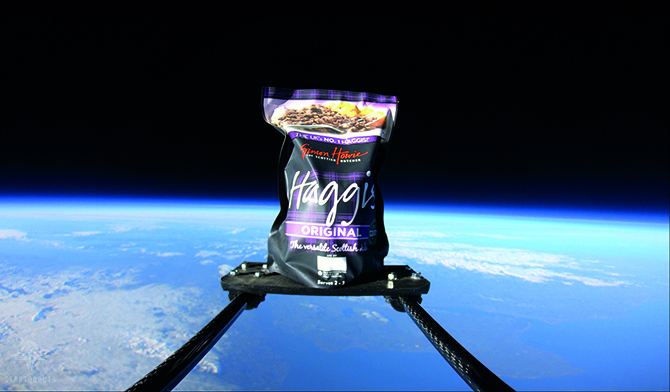 Simon Howie launches the first ever haggis into space