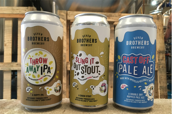 Three cans of beer - Trow Away IPA made of cornflakes, Sling it Out Stour made of coco pops and Cast Off Pale Ale made of Rice Krispies