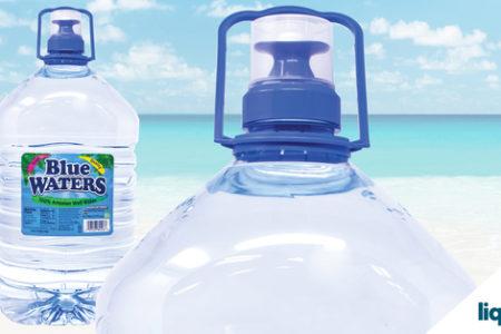 UpTap dispensing closure for large PET bottled water helps Blue Waters sustain sales