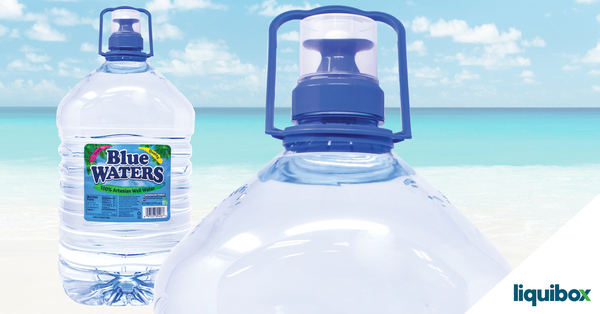 UpTap dispensing closure for large PET bottled water helps Blue Waters sustain sales