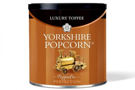 New look drum for Yorkshire Popcorn's luxury toffee flavour